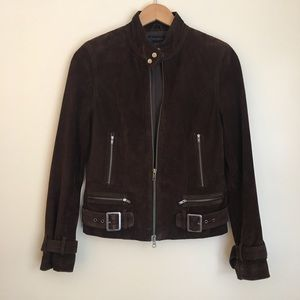 Chocolate Brown Suede Leather Motorcycle Jacket